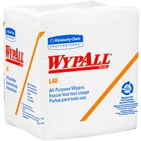 Essuie-tout jetables tout usage à pli 1/4 L40 WypAll, blanc, 121/2po x 12po, emb. de 56