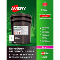 Avery UltraDuty GHS Chemical Labels, White, 4 3/4