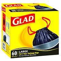 Glad Tie 'n Toss Large Garbage Bags, 60/Box