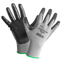 Ronco Flexsor Nitrile Palm Coated Gloves, Small, Grey/Green Wrist, 12 Pairs/PK