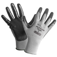 Ronco Flexsor Nitrile Palm Coated Gloves, Medium, Grey/Grey Wrist, 12 Pairs/PK
