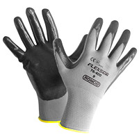 Ronco Flexsor Nitrile Palm Coated Gloves, Large, Grey/Yellow Wrist, 12 Pairs/PK