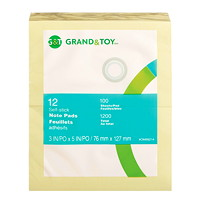 Grand & Toy Self-Stick Notes, Yellow, Unlined, 3