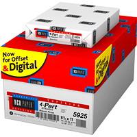 Papier autocopiant de qualité supérieure NCR, 4 copies, recto, blanc, jaune canari , rose et or, format lettre, caisse de 5000 feuilles