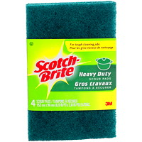 Scotch-Brite Scour Pads, Heavy-Duty, Green, 4/PK