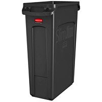 Rubbermaid Slim Jim Vented Container, Black, 23-Gallon Capacity