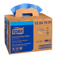 Tork 4-Ply Industrial Multifold Paper Wipers, Handy Box, Blue, 180 Sheets/BX