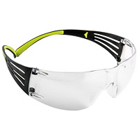 3M SecureFit Protective Eyewear 400 Series, Clear Anti-Scratch and Anti-Fog Lens, Frameless with Black Temple and Yellow