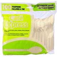 Ustensiles en plastique rigide Café Express, cuillères à soupe, blanc, emb. de 100
