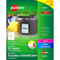 Étiquettes d'identification blanches à plastifier Easy Align Avery