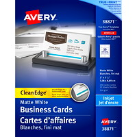 Avery 2-Sided Printable Clean Edge Business Cards for Inkjet Printers, White, 2