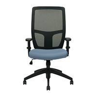 Offices To Go Format High-Back Simple Synchro-Tilt Chair, Blue Fabric Seat/Black Mesh Back
