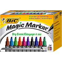 BIC Magic Marker Liquid Ink Dry-Erase Markers, Assorted, Tank Style, 24/Bx