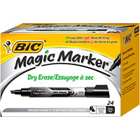 BIC Magic Marker Liquid Ink Dry-Erase Markers, Black, Tank Style, 24/Bx