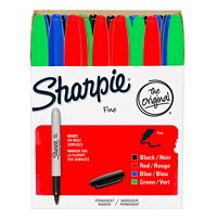 Sharpie Permanent Markers, Assorted Colours, Fine Tip, 36/PK