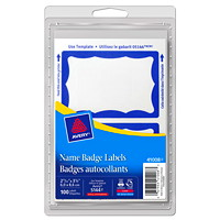 Avery Removable Print/Write Self-Adhesive Name Badge Labels, White with Blue Border, 2 11/12