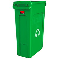 Rubbermaid Slim Jim Bin, Recycle, Green, 23-Gallon Capacity