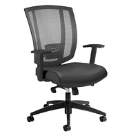 Offices To Go Avro Mid-Back Synchro-Tilter Chair, Black, Bonded Leather/Mesh Back