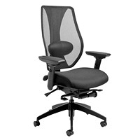 ergoCentric tCentric Hybrid Synchro Glide Ergonomic Chair, With Lumbar Support, Urethane Casters, Black Mesh Back/Black Fabric Seat