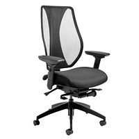 ergoCentric tCentric Hybrid Synchro Glide Ergonomic Chair, Nylon Casters, Black Mesh Back/Black Fabric Seat