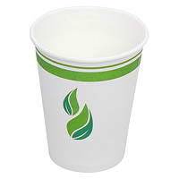 Eco Guardian Compostable Single Wall Paper Cups, White, 10 oz, 50/PK
