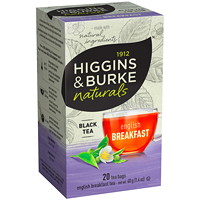 Thé noir English Breakfast Higgins & Burke Naturals, boîte de 20