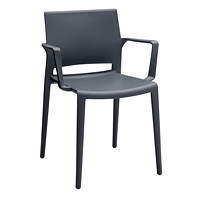 Global Bakhita Stacking Chair, With Armrests, Charcoal