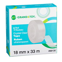 Grand & Toy Tape Refill, Crystal Clear, 18 mm x 33 m