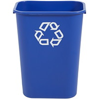 Rubbermaid Commercial 2957 Series Deskside Recycling Bin, Blue with White Recycling Logo, 46 3/5 L Capacity
