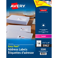 Avery 5962 Easy Peel Address Labels, White, 1 1/3