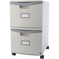 Storex 2-Drawer Mobile Grey Vertical File, Grey
