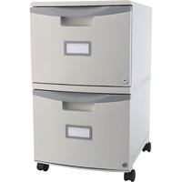 Classeur vertical mobile à 2 tiroirs Storex, gris