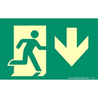 Safety Media Running Man Photoluminescent (Glow-In-The-Dark) Exit Sign