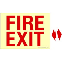 Safety Media Photoluminescent (Glow-In-The-Dark) Fire Exit Sign With Arrows