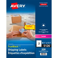 Avery 5126 Shipping Labels With TrueBlock Technology, White,  8 1/2