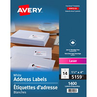 Avery 5159 Address Labels, White, 1 1/2