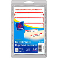 Avery 5201 File Folder Labels, White with Red Stripe, 3 1/2