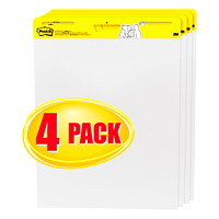Tablette de feuilles autocollantes en format chevalet blanc Post-it, emballage de 4 pochettes