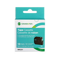 Grand & Toy P-Touch M-Series Thermal Label Tape, Black Type/White Label, 12 mm