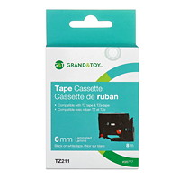 Grand & Toy Sign TZe Black Type On White Label Tape Cassette, 6 mm (1/4