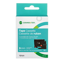 Grand & Toy Sign TZe Black Type On Clear Label Tape Cassette, 9 mm (3/8