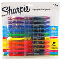 Stylos surligneurs à encre liquide Sharpie, couleurs variées, pointe biseautée étroite, emb. de 10