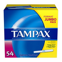 Tampax Regular Absorbency Cardboard Applicator Tampons, 54/Pack