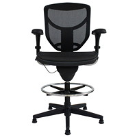 WorkPro Extended-Height Drafting Chair/Stool, Black