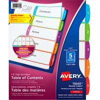 Avery Ready Index Customizable Table of Contents Dividers, White with Multi-Coloured Tabs, Numbered (1-5), Letter-Size, 5-Tabs/ST, 1-Set/PK