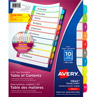Avery Ready Index Customizable Table of Contents Dividers, White with Multi-Coloured Tabs, Numbered (1-10), Letter-Size, 10-Tabs/ST, 1-Set/PK