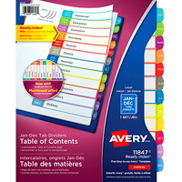 Avery Ready Index Customizable Table of Contents Dividers, White with Multi-Coloured Tabs, Monthly (Jan-Dec), Letter-Size, 12-Tabs/ST, 1-Set/PK