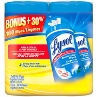 Lysol Spring Waterfall Scent Disinfecting Wipes, 80 Wipes/Pack, 2/Pack