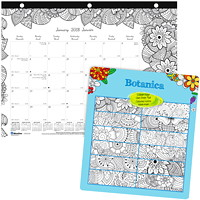 Blueline 12-Month Academic 2017-2018 Monthly (January-December) Colouring Desk Pad Calendar