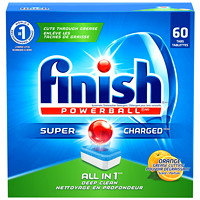 Finish Powerball SuperCharged All-in-1 Deep Clean Dishwasher Detergent, Orange Scent, 60/PK